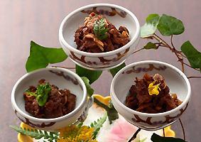 Japanese Black Wagyu Beef Simmered in Soy Sauce and Sweet Rice Wine